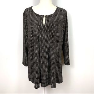 Charter Club Stretch Top Blouse 3/4 Sleeve Keyhole